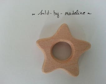 """Star"" natural wooden teething ring"