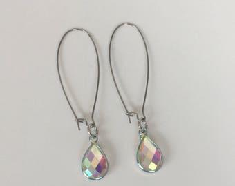 Iridescent Silver Teardrop Earrings