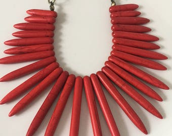 Red Spiked Bib Necklace