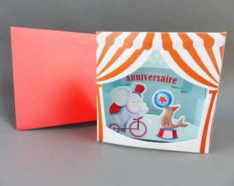 3D birthday card to ask circus elephant shaped chalkboard