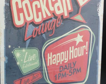 metal plate 30 x 40 cm cocktail lounge happy hour blue red and green