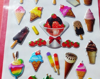 sheet of 30 stickers ice was love skiing stickers 3D embossed Strawberry sundae cone