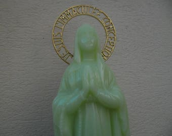 STATUE Virgin NOTRE DAME DE LOURDES Virgin Mary fluorescent height 37 cm
