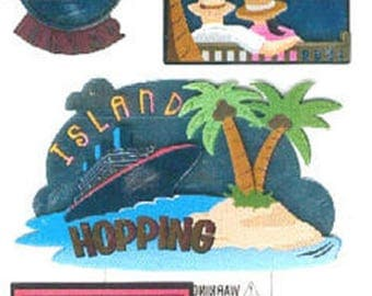 STICKERS 3D EMBOSSED METALLIC STCKO * CRUISE VACATION SUMMER * FOR SCRAP BOOKING