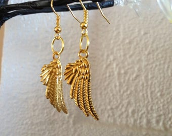Golden angel wing earrings