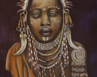 Tribal portrait - Pastel on paper