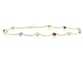 14k Yellow Gold Handmade Station Anklet with Round 4mm Gemstones By the Yard 9- 11 Inches