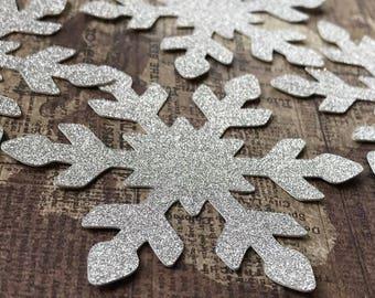 Medium Silver Glitter Snowflakes.