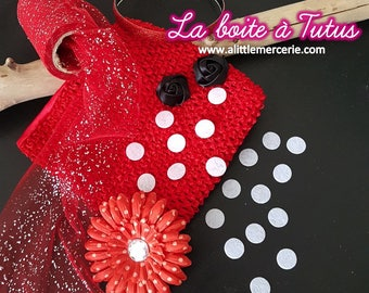 Kit costume tutu dress girl red white black dots 12/18/24 months 2 years K8 ★