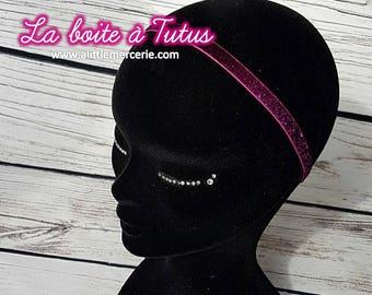 ★ Headband shiny effect glitter for girl women hair accessory Fuchsia pink glitter glitter ★