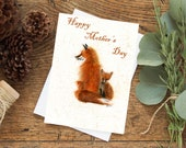 Mama Fox and Kit Greeting Card - Mother's Day