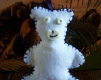 Blanket stitch hand made felt bear