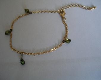 Gold Mesh Bracelet green faceted beads