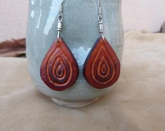 """Fancy drop"" earrings in orange brown tooled leather"
