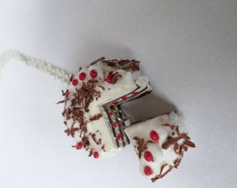 Hand made polymer clay and Black Forest necklace