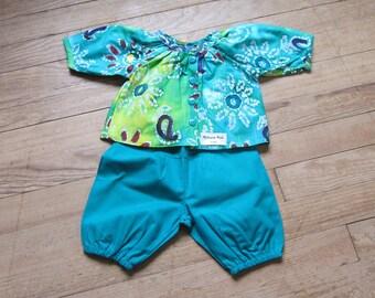 Blouse - girl 6 months cotton batik green pants set