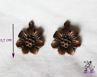Large charms copper flowers