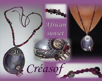 African sunset set agate necklace
