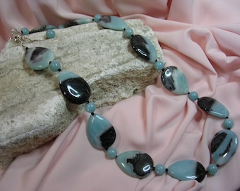 Stone of blue Aragonite necklace on cable steel-unique
