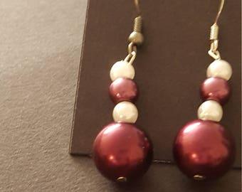 Earrings - Drop, Purple and White