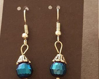 Earrings - Drop, Deep Blue