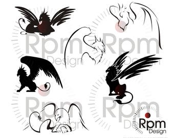 Griffin SVG File, Griffon SVG, Fantasy, Dungeons & Dragons Monster, CNC, Laser, Cricut, Silhouette, Cuttable, Digital File, Vector, Download