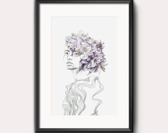 Disconnected. #printart, woman, portrait, flowers, black and white, pencil, digital, wall art, framed art, bouquet,