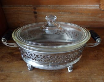 Antique Pyrex Oval Casserole Dish with Lid and Silver Plate Stand,Wood Handles
