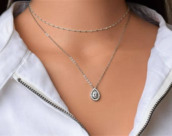 CZ Necklace, Dainty Necklace, Layering Necklace,Sterling Silver Necklace,Valentines Gift For Her, Dainty Silver Necklace,CZ Pendant Necklace