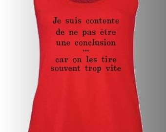 "tank top printed humorous sleeveless ""I'm happy to be a conclusion because it is pulled often too fast"