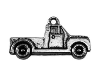x 10 - truck or car pickup - metal charm - silver color