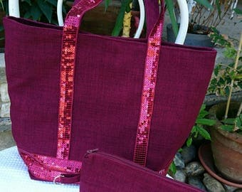 tote bag with matching Burgundy fabric sequin bag