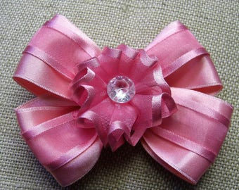 Pink bow with satin and organza flower