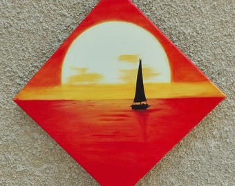 Contemporary painting of a sailboat at sunset