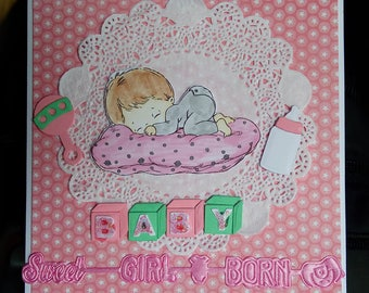 Card scrap newborn baby girl