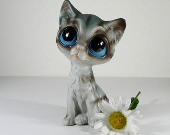 Vintage Cat Figurine, Enesco Big Sad Eyes Cat Statue, Made in Japan, Retro Home Decor, Cat Collectors, Kitty Lovers