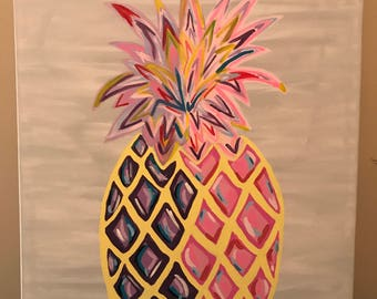 Pineapple Canvas Painting, Colorful Pineapple