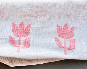 white embroidered fabric coral Tulip 1960s vintage fabric, french fabric
