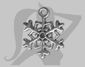 Metal snowflake charm silver 18 x 15 mm