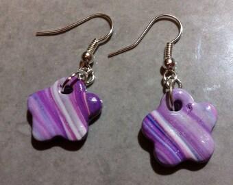 Variation of purple flower earrings
