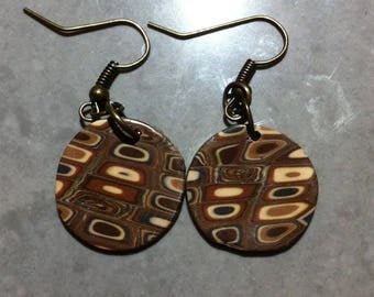 Vintage earrings round polymer clay