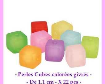 Colorful cubes are frosted - 11 mm - 22 pcs - new