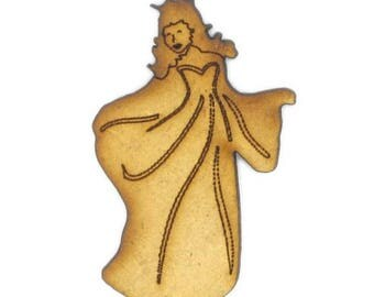 Cut out of MDF wood - small shape: Princess of 4.5 x 3 cm.