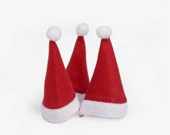 Set of 24 Santa Claus hats in felt, 11 x 7 cm, Ideal for table decoration, bottle or for your little characters.