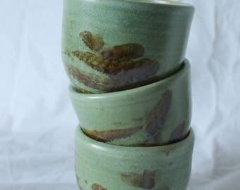 Set of tea bowls in Mint Green glaze