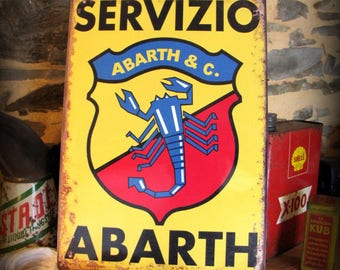 Plate Metal Reproduction advertising vintage Fiat Abarth