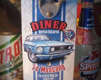 """Wall bottle opener Ford Mustang """"Dinner"""", american restaurant"""