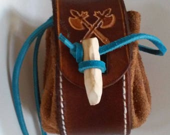 Mini turquoise and brown leather purse