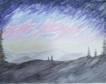 Galaxy Landscape Watercolor