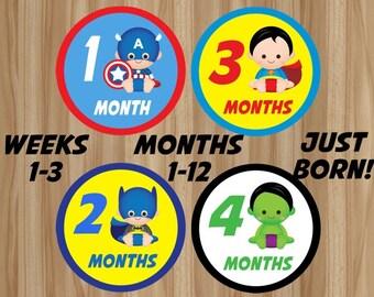 FLASH SALE! Superhero Monthly Stickers, Superhero Stickers, Superhero Baby Stickers, Avengers Monthly Stickers, Avengers Baby Stickers, DIY